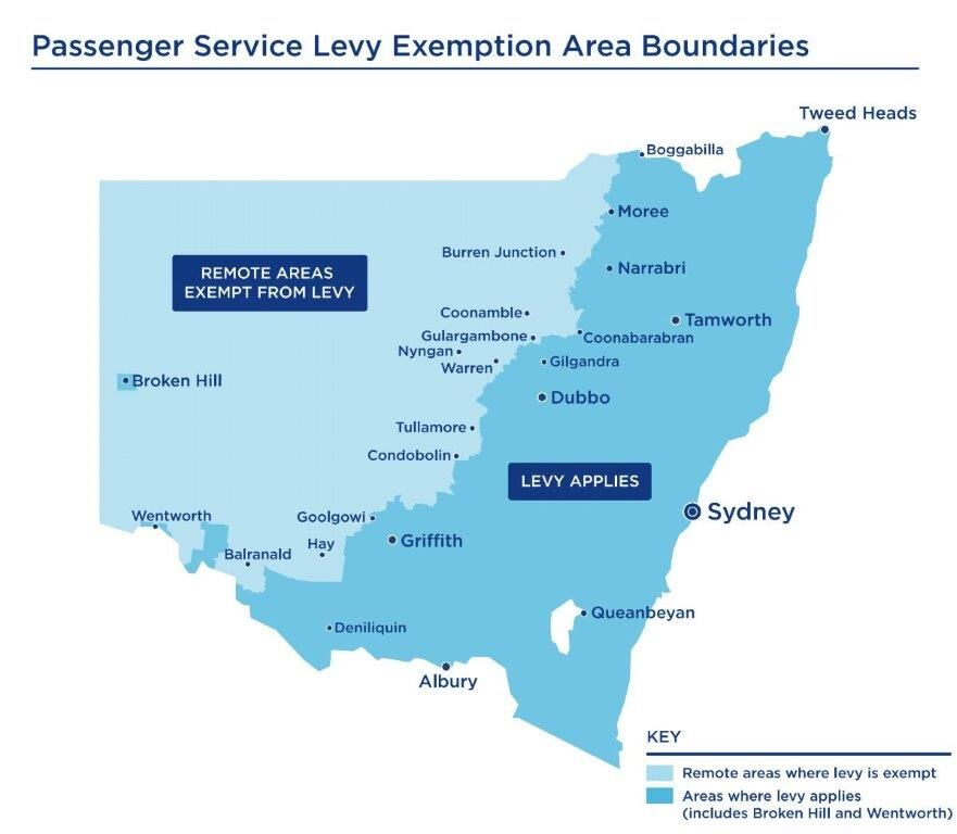 Map showing where the boundaries are for the passenger service levy