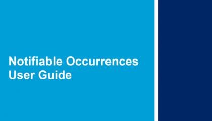 Notifiable Occurrences User Guide front cover