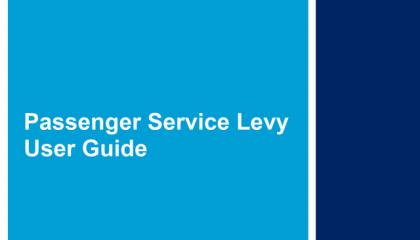 Passenger Service Levy User Guide front cover