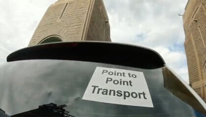 Point to Point retroreflective sign in back window